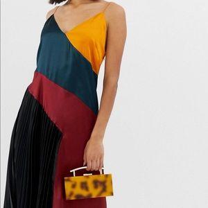 Satin/silk Color-Block Midi